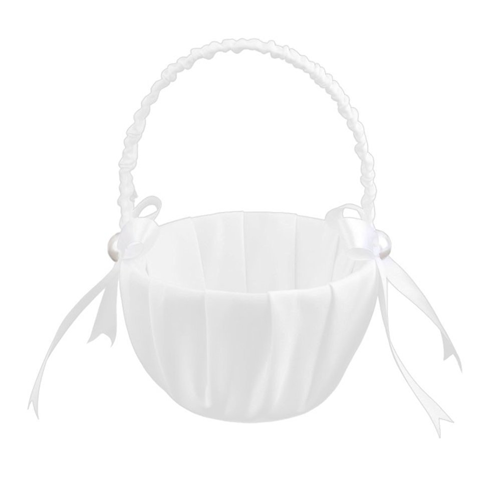 Tinksky Satin Wedding Flower Girl Basket Faux Pearl Ribbon Bowknot Decorated Favors (White)