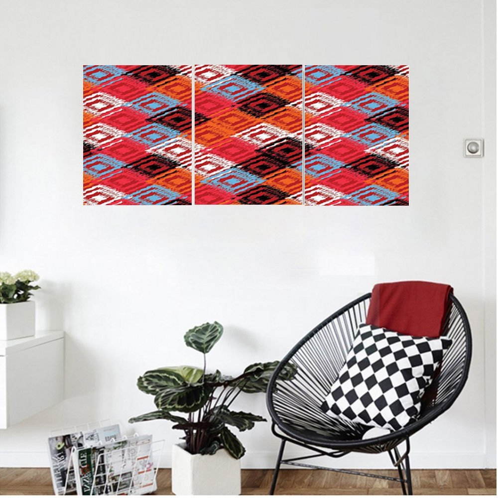 Liguo88 Custom canvas Ikat Decor Distressed Grunge Ikat Patterns With Dispersed Color Effects Connected Eastern Design Bedroom Living Room Decor Red Blue Orange