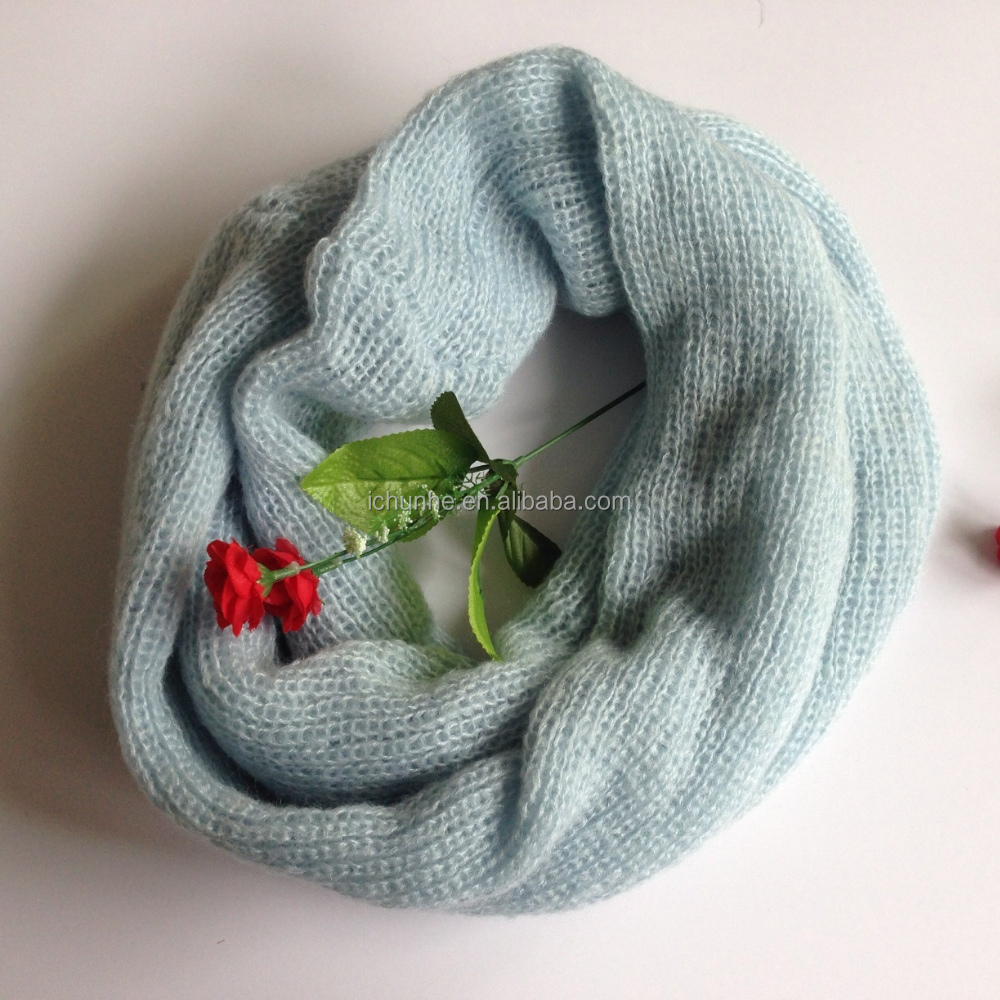 fashion winter knitted factory make blue color girls winter knitted scarf