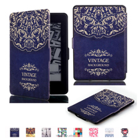 IFC096 leather case cover for Amazon Kindle Paperwhite 1/2/3 notebook pad tablet, Magnet Smart wake up and off with pattern