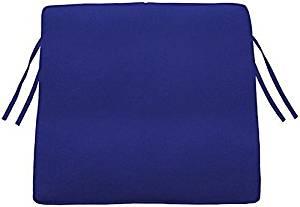 """Box edge Trapezoid Outdoor Chair Cushion, 3""""Hx18.5""""Wx17""""D, BLUE SUNBRELLA"""