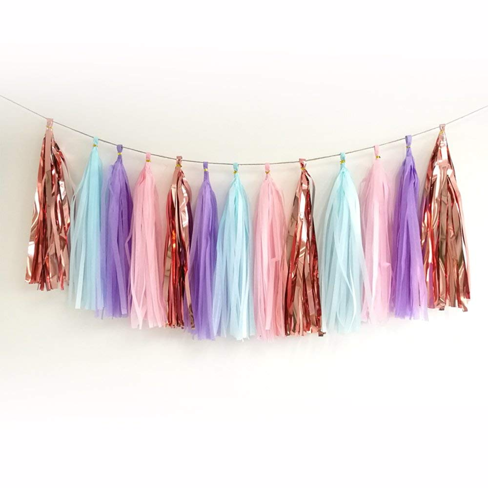 20pcs Shiny Tassel Garland Banner Tissue Paper Tassels for Wedding, Baby Shower, Table Decor,Event & Party Supplies, DIY Kits - (Rose gold,Light purple,Light blue,Light pink)