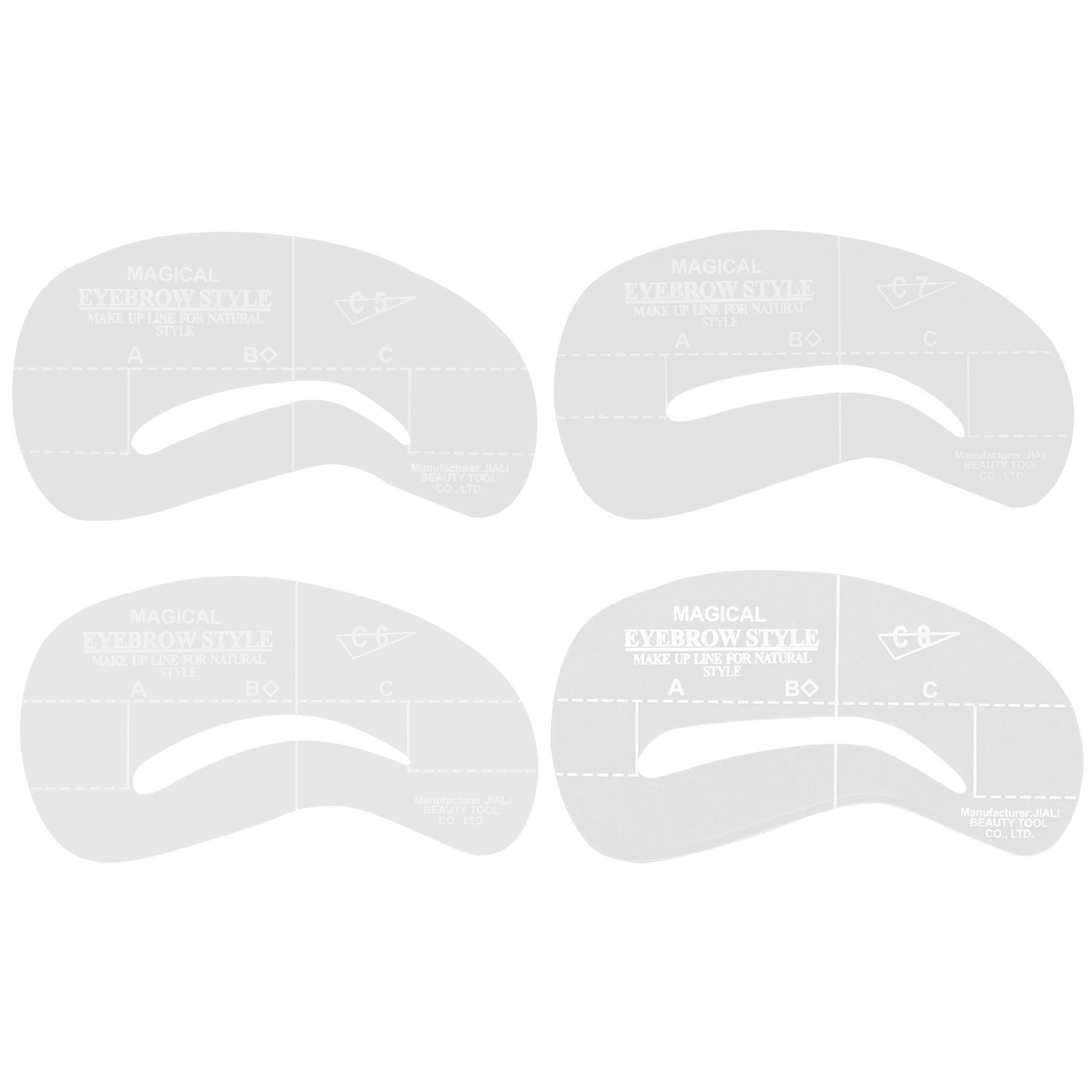 4 Styles Stencil Kit Make up Shaping Beauty Eyebrow Template Tools (C5-C8.)