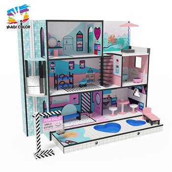 Best design kids furniture toy wooden doll playhouse for pretend W06A375