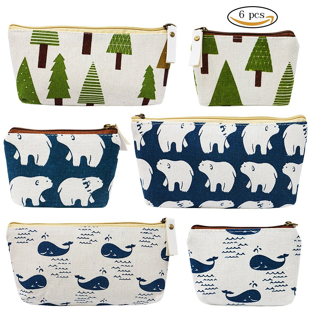 VAMAI Pen Pencil Case Stationery Coin Pouch Cosmetic Makeup Bag with Canvas Zipper Pen Bag 6 Pack