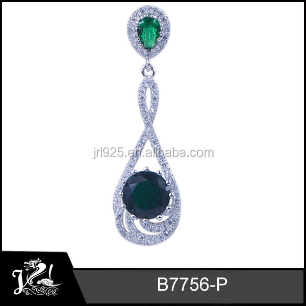 Fashion green glass stone silver plating crystal element 925 sterling silver pendants