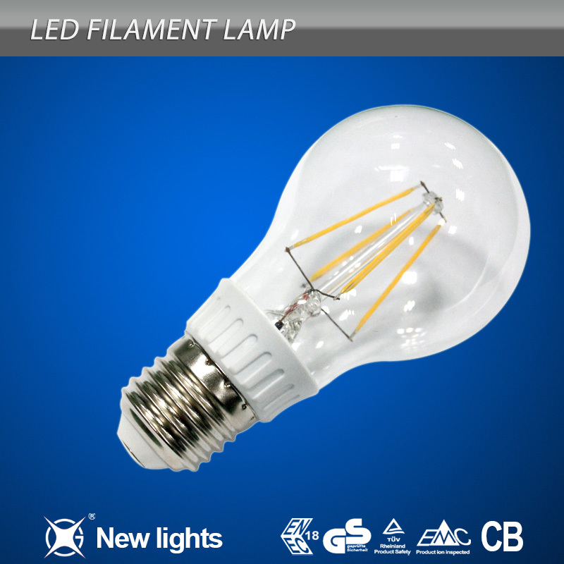 HitLights F Series 4 Watt Filament A19 LED Light Bulb - Omnidirectional - Replaces 40W Incandescent Light Bulb - Warm White