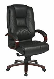 Avenue 6 Office Star 8500 Deluxe High Back Black Executive Leather Chair with Deluxe Locking Mid Pivot Knee Tilt and Mahogany Finish