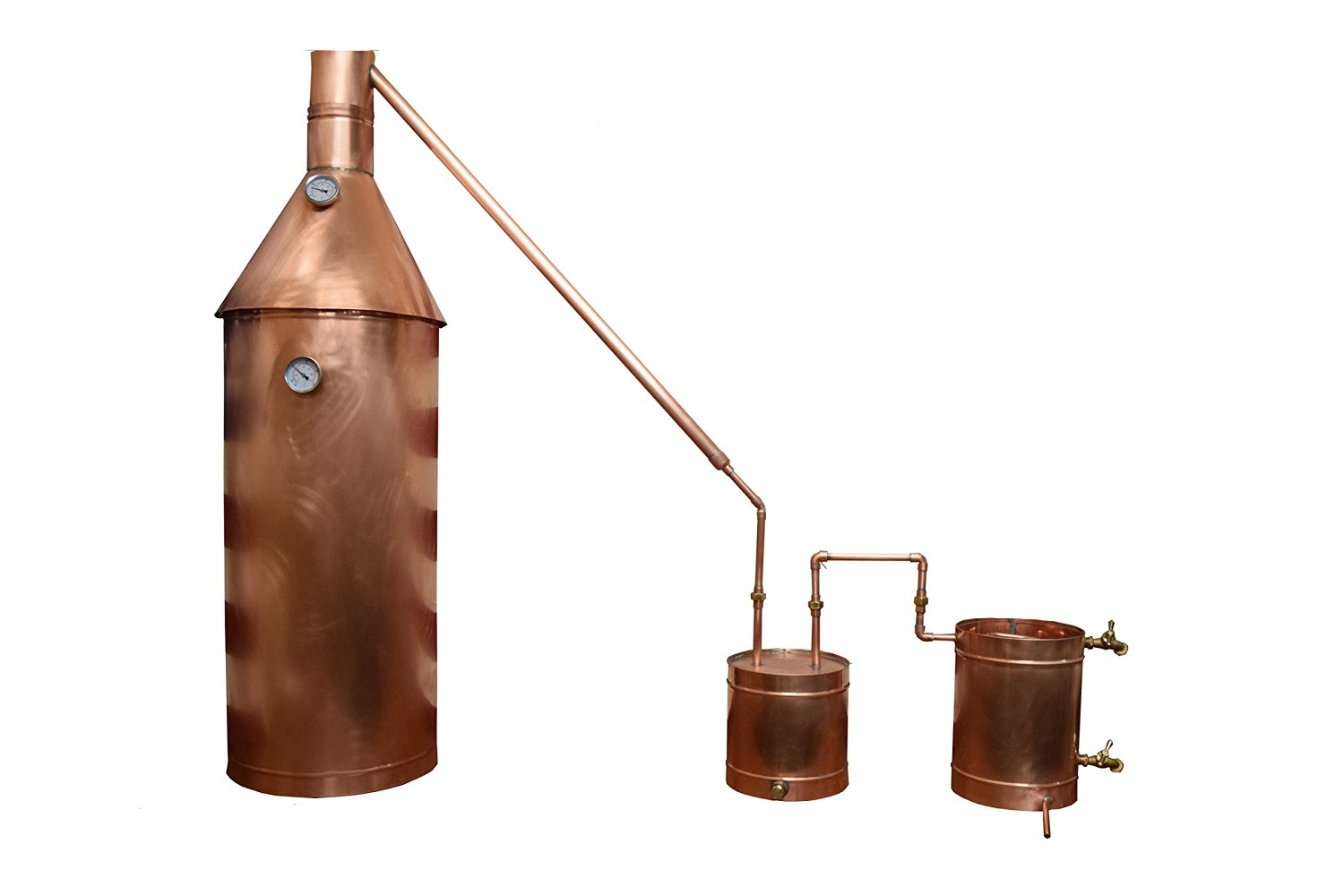 The Distillery Network® Custom Engraved 30 Gallons Professional Grade Moonshine Water Alcohol Spirits Complete Still Assembled Copper Still With Thumper Worm Cap Temperature Gauge