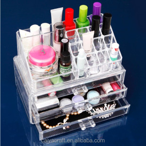 Clear acrylic cosmetic display case with drawers clear plastic organizers