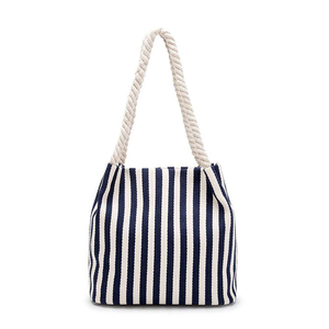 Custom Beach Cotton Canvas Tote Bags Reusable Grocery Shopping Blank Tote Bags in Bulk striped Tote Handbags