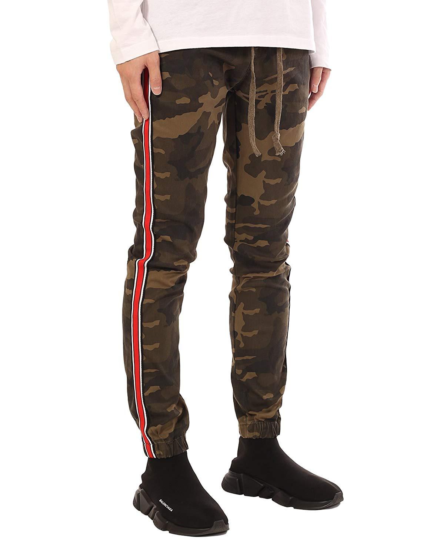e98f320a9faf2b Get Quotations · JD Apparel Men s Stripe Track Pants Skinny Fit Stretch  Casual Elastic Athletic Slim Joggers