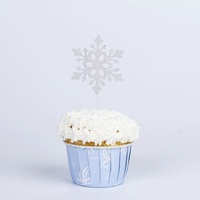 Christmas snowflake Cupcake Topper Christmas party Cake decorative insert