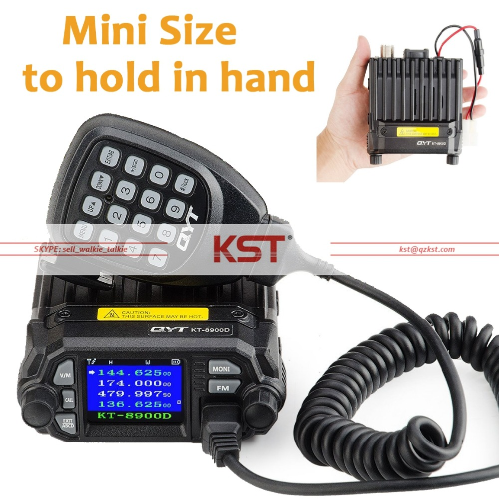 QYT KT-8900D 25W Vehicle Mounted Two Way Radio with Programming Cable Upgrade KT-8900 Mini Mobile Radio with Quad Band Large LCD