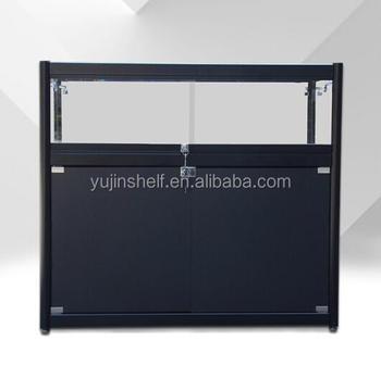 Custom Aluminum Frame Cabinet Tempered Glass Jewelry Display Showcase With  Storage And Locks
