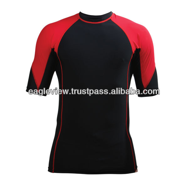 Short Sleeve MMA Grappling Rash Guard Red/Black Nylon/Lecra With Logo