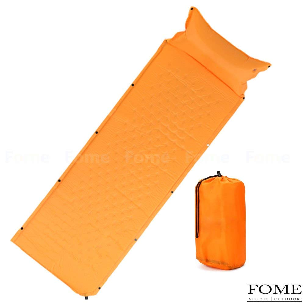 Self Inflating Sleeping Pads, FOME SPORTS OUTDOORS Portable PVC Sleeping Pad Thick Moisture-proof Sponge Padding Mat with Attached Inflatable Pillow for Camping Backpacking 73 x 24 x 0.98 inch