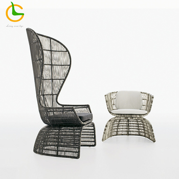 European design elegant modern patio woven high back antique outdoor furniture rattan sofa