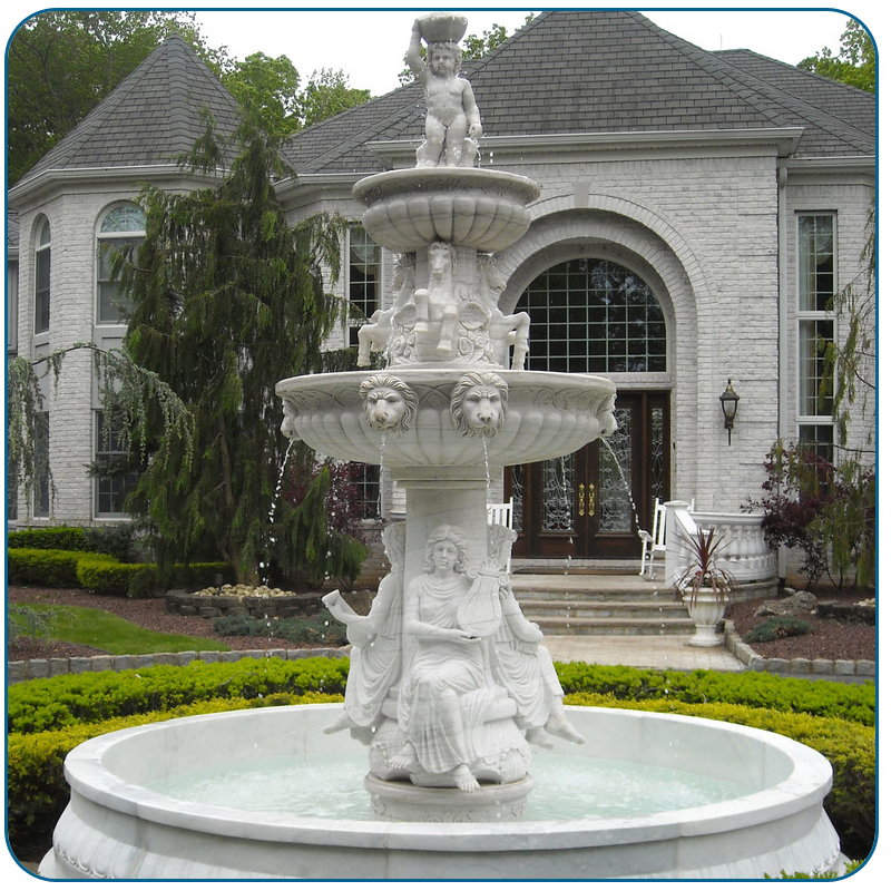 Outdoor Large Size White Marble Lady Water Fountain With Lion Statute