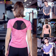 2017 New Yoga Wear Dry Fit Women Yoga Tops Shirts With Back Mesh