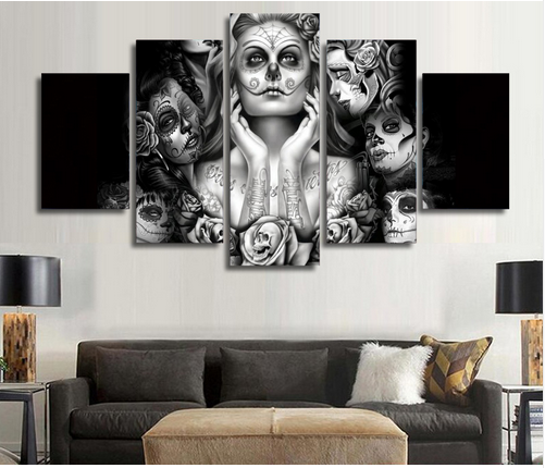 HD Printed Day of the Dead Face Oil Painting on canvas printed canvas painting without frame for wall decoration