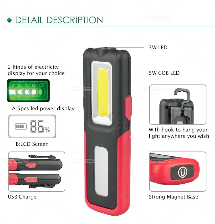Hi-Viz  WORKSHOP LIGHT with charger LED  RECHARGEABLE INSPECTION LIGHT