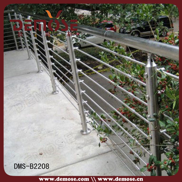 Stainless steel horizontal bar railing for staircase deck for Terrace railings design philippines