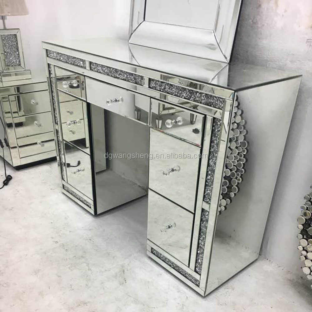 Sparkle Crystal Diamond Trim Large Mirrored Gl 7 Drawer Dressing Table Desk