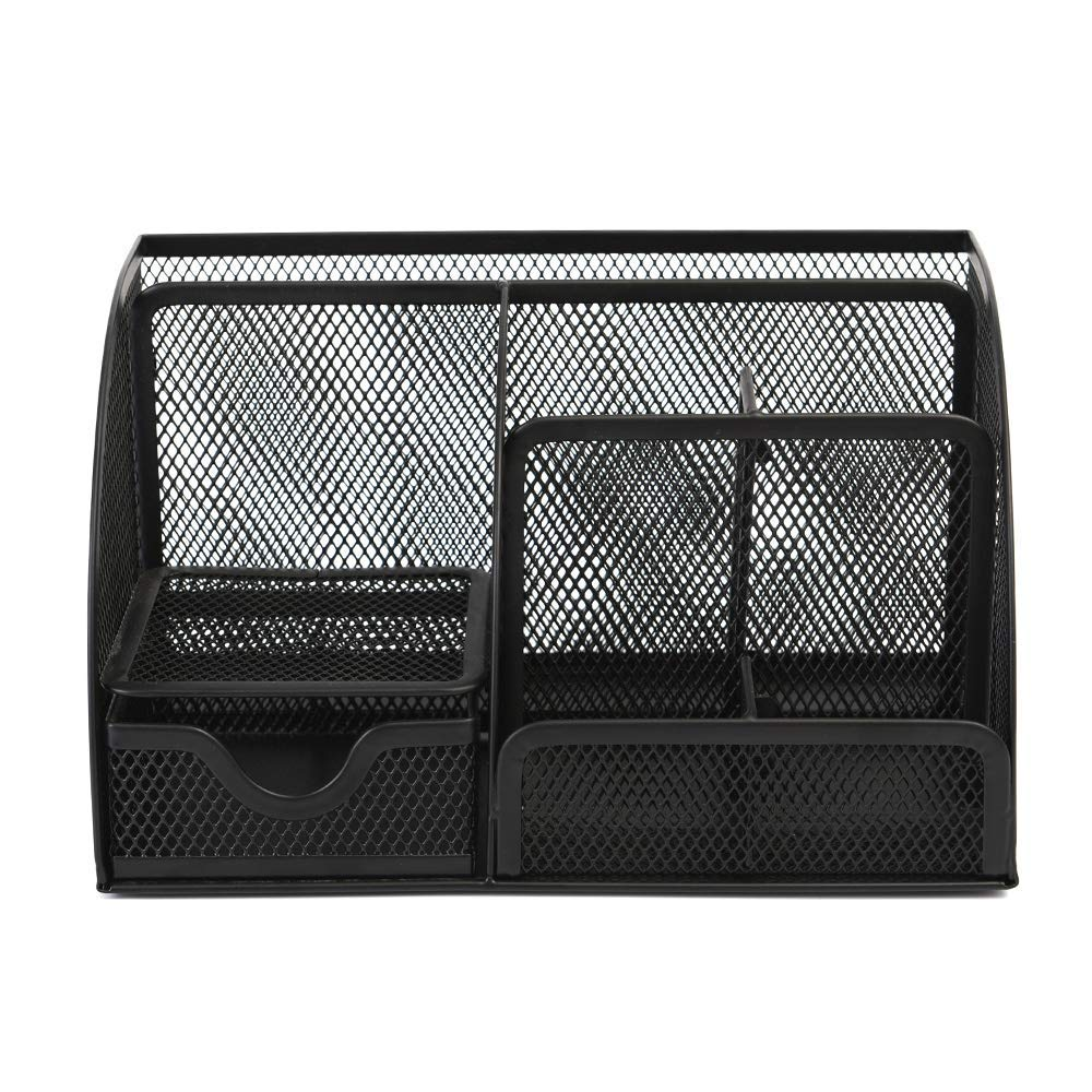 Desk Organizer, Space Saving Mesh Desk Organizer 5 Components Office Supply Caddy Combination Pen Holder Card Case Organizer Storage Box with Drawer (Black)