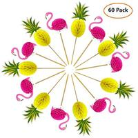 Cake Topper Pink Flamingo Pineapple Cupcake Picks for Hawaii Birthday Wedding Beach Party Decoration