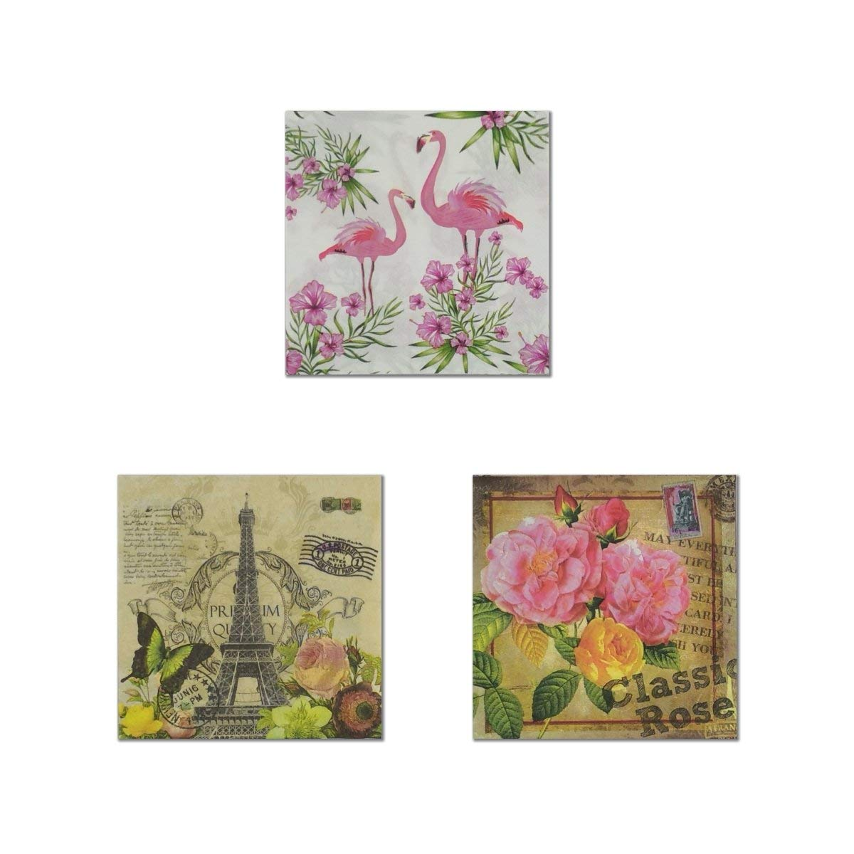 Decoupage Paper (3 Assorted Designs, 20-Count each, Total: 60-Count)