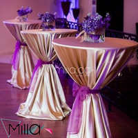 Champagne Poly Satin Linens High Cocktail Table Cloth With Organza Sash