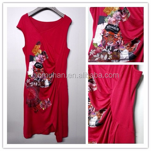 RED Casual Dress for Women DIGITAL ABSTRACT PRINTING CLOTH STICKING SUMMER DRESSES digital printed fabric dress