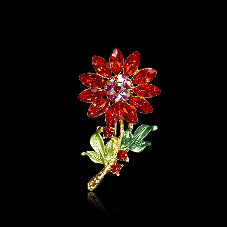 Red flower pin brooch crystal flower orchid brooch