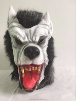 halloween mask:latex wolf mask with plush