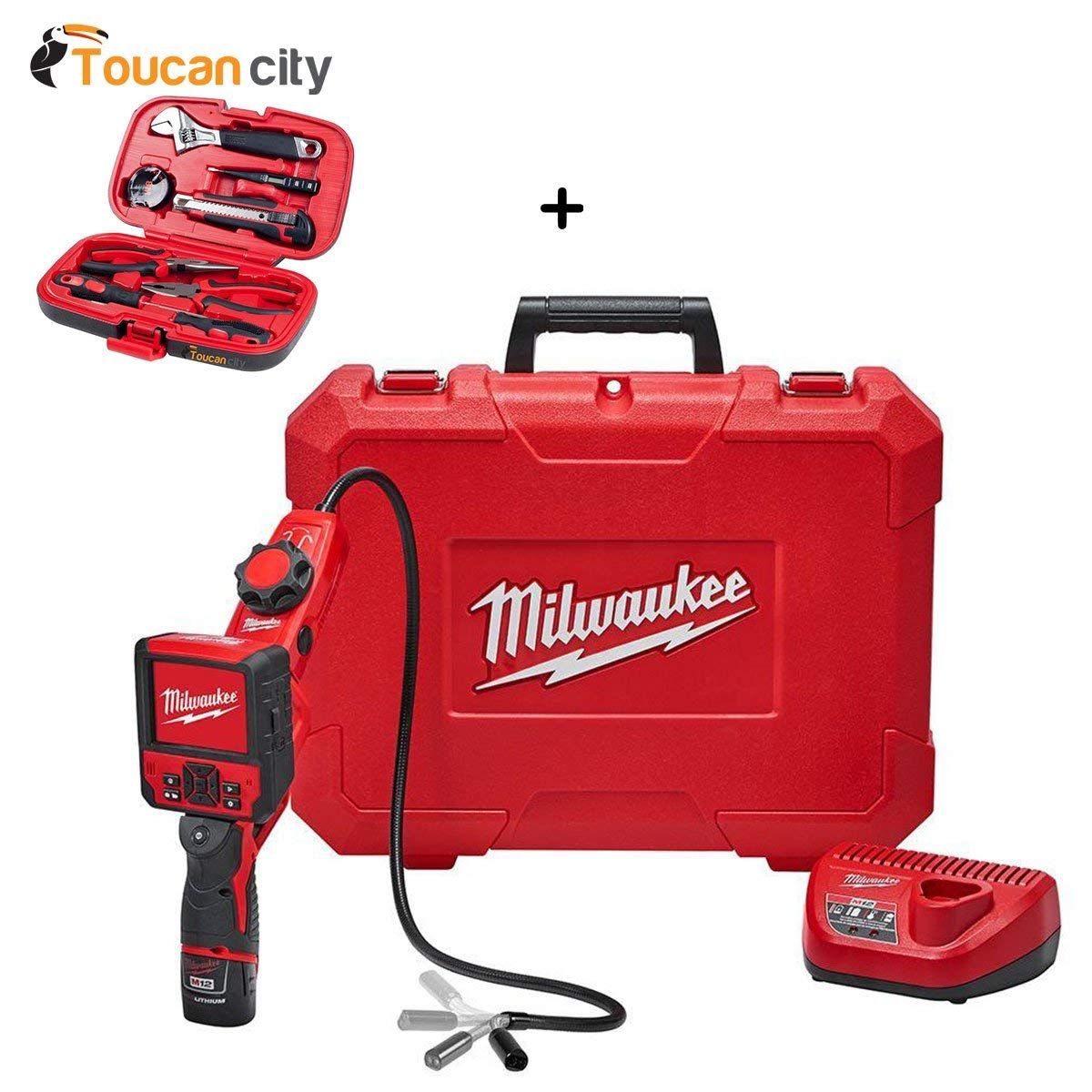 Milwaukee M12 12-Volt Lithium-Ion Cordless M-SPECTOR FLEX 3 ft. Inspection Camera Cable W/ Pivot View Kit W/(1) 1.5Ah Battery 2317-21 and Toucan City Tool Kit (9-Piece)