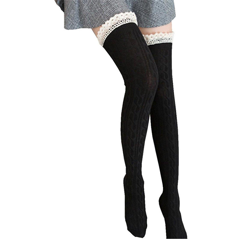 f80f9b57d4f Women's Extra Long Cotton Lace Thigh High Over Knee High Socks Winter Socks