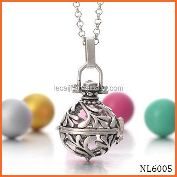 Silver Pregnancy Musical Chime Pendant chain necklace Locket for 18mm Mexican bola bead diffuser necklace