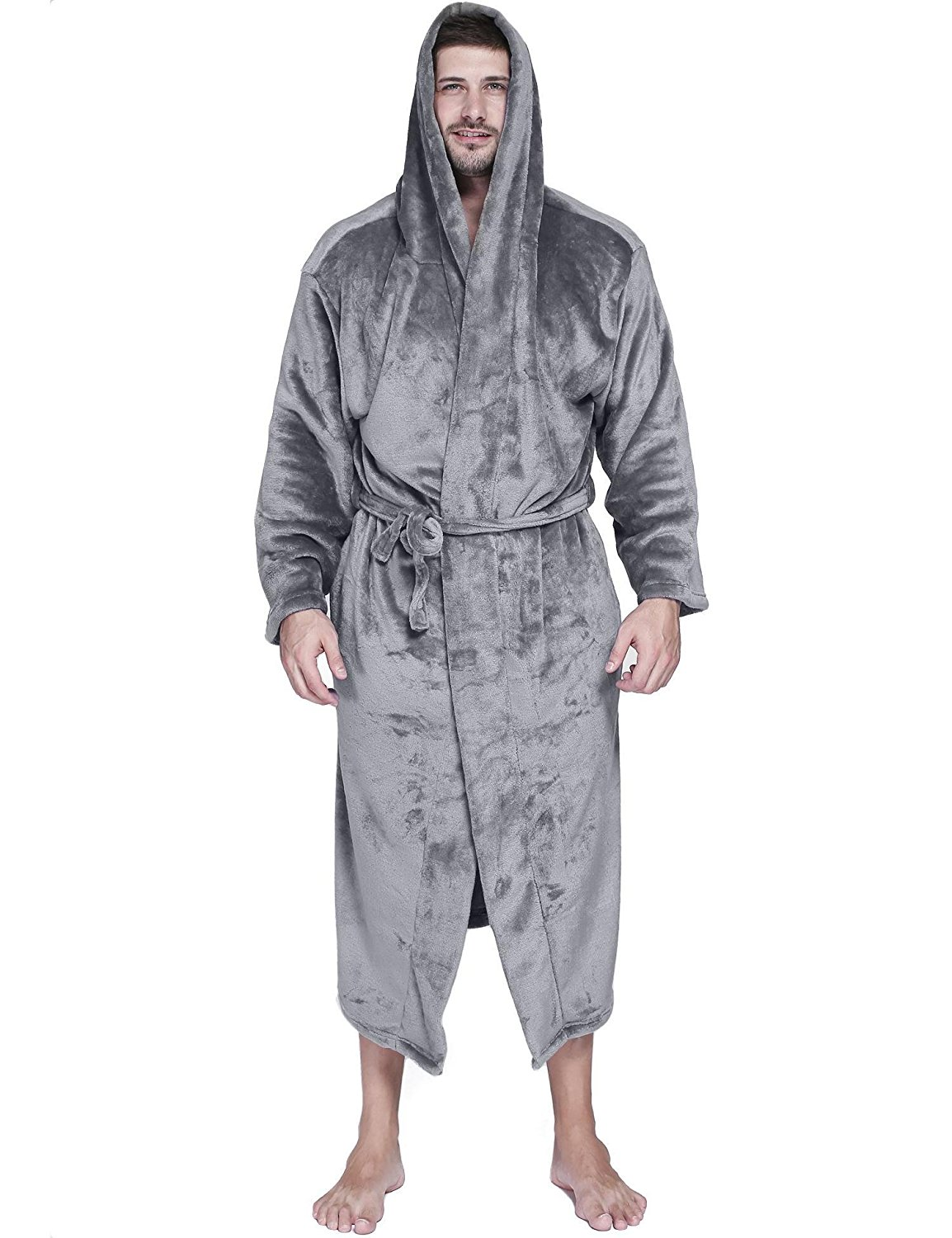 Get Quotations · Dickin Mens Winter Hooded Flannel Robes Plush Warm Belted  Kimono Bathrobes With Pockets e24435df8