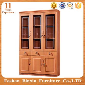 Living Room Furniture RB524 3 Door Glass Melamine Bookcase Cheap Particle Board PVC Bookshelf