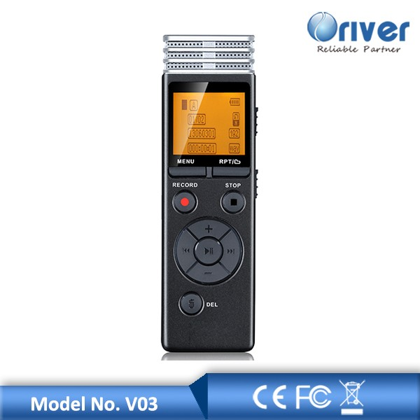 1.3inch Digital voice recorder device with internal ane extended memory support recording 72 hours