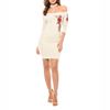 Professional Clothing Factory OEM Embroidered White Women Bodycon Midi Dress