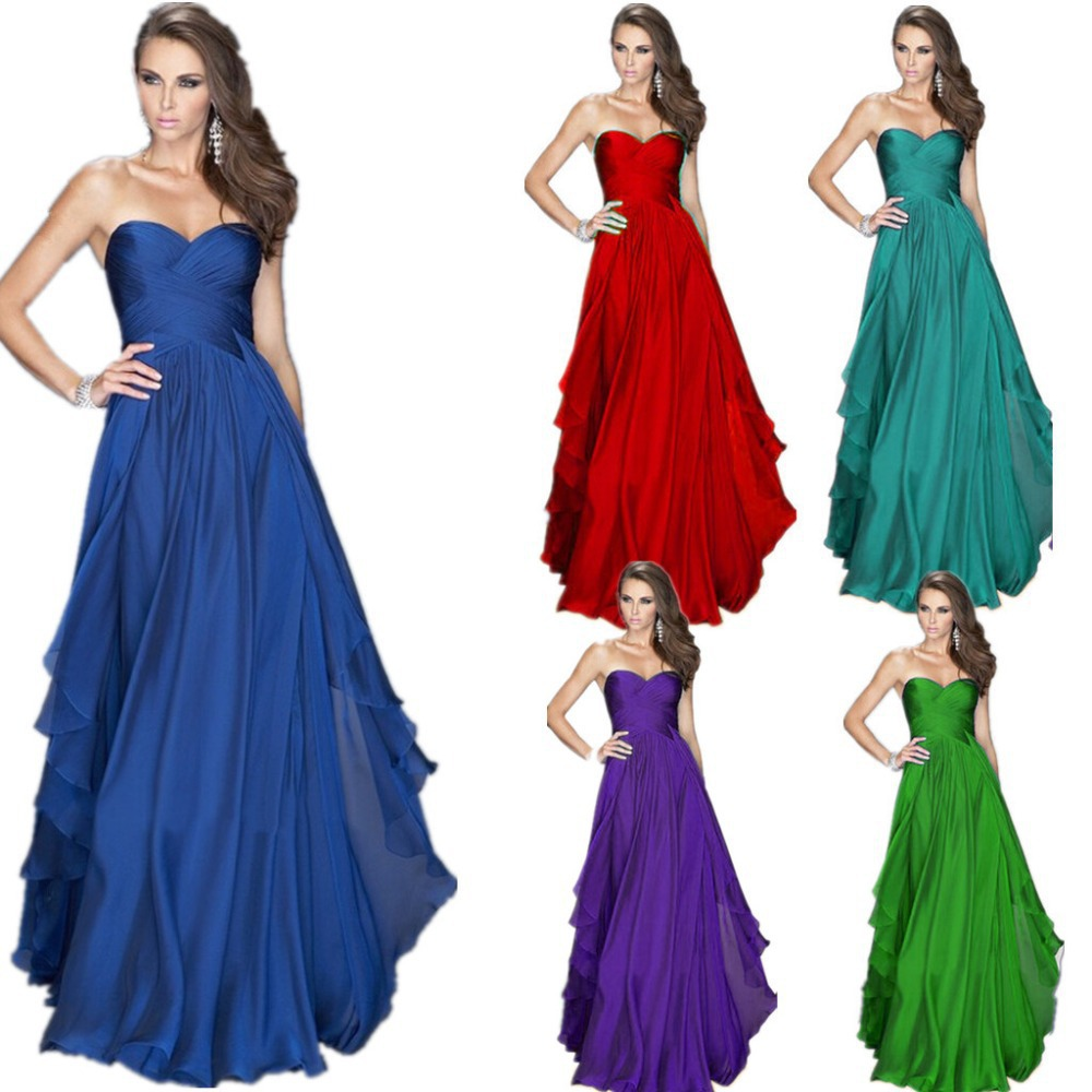 Strapless royal blue bridesmaid dresses