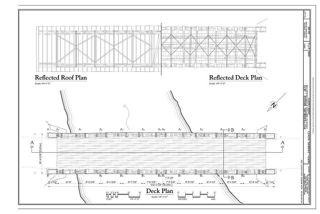 Structural Drawing Reflected Roof Plan, Reflected Deck Plan, Deck Plan - Pottersburg Bridge, Spanning Big Darby Creek, North Lewisburg Road (CR 164), North Lewisburg, Union County, OH 66in x 44in