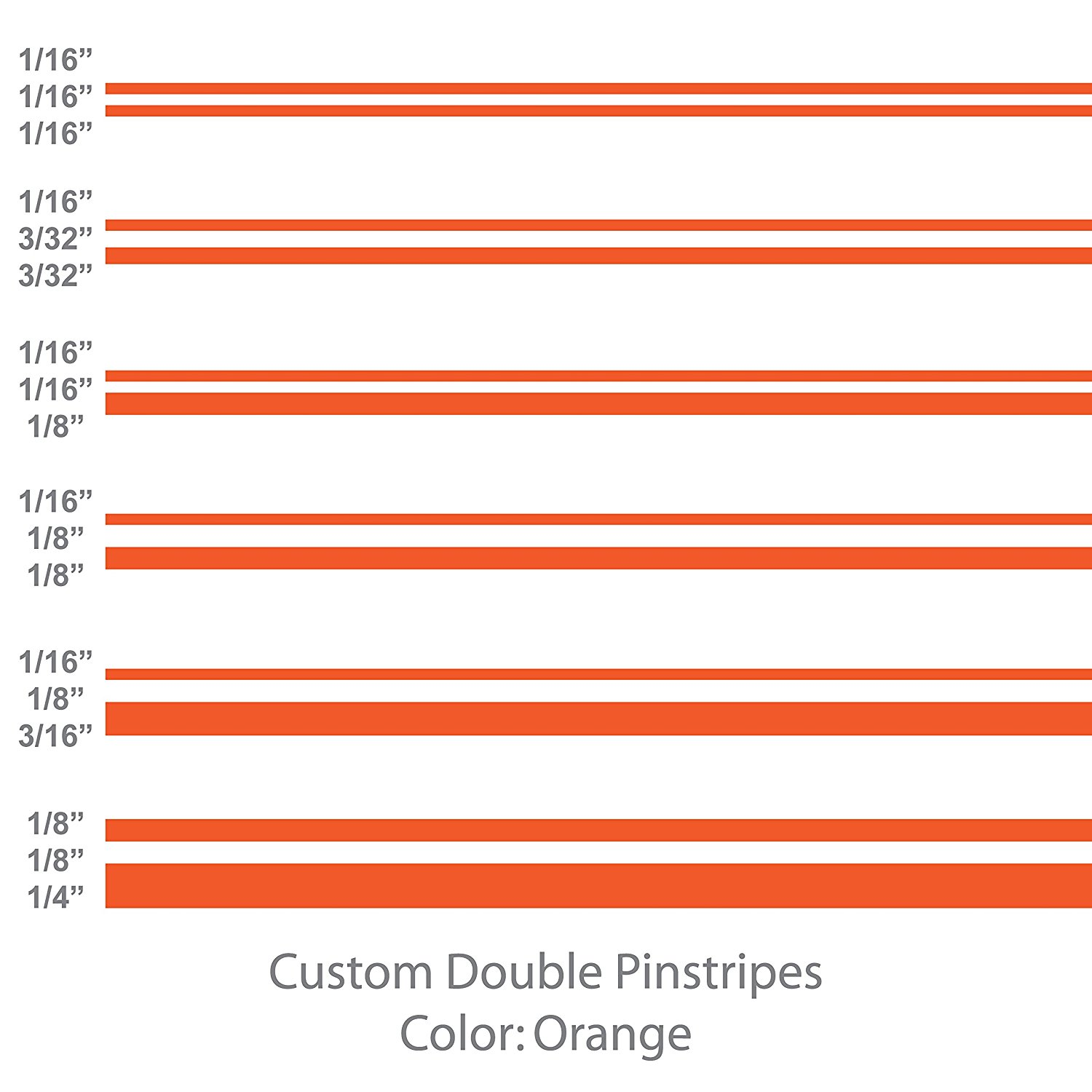 """Double Pinstripes (Orange) 1/8"""" 1/16"""" 3/16"""" 3/32"""" 5/8"""" 1/4"""" 1/2"""" 3/4"""" inch widths / auto car truck pinstriping vinyl tape decal / by 1060 Graphics. (1/8"""" - 1/8"""" - 1/4"""" (12' ft. length))"""