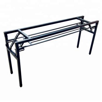 Strong Metal Rectangular Folding Table Legs With Metalmesh Shelf Rack