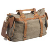 6859 Unisex Army Green Genuine Leather and Canvas Handbags