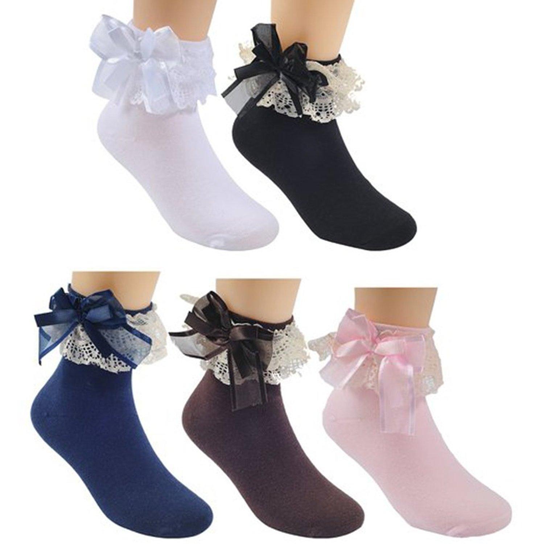 83fb5348d92c Get Quotations · Honanda Kid Princess Style Lace Frilly Ruffle Ballet Socks  Dance Socks 5 Pairs