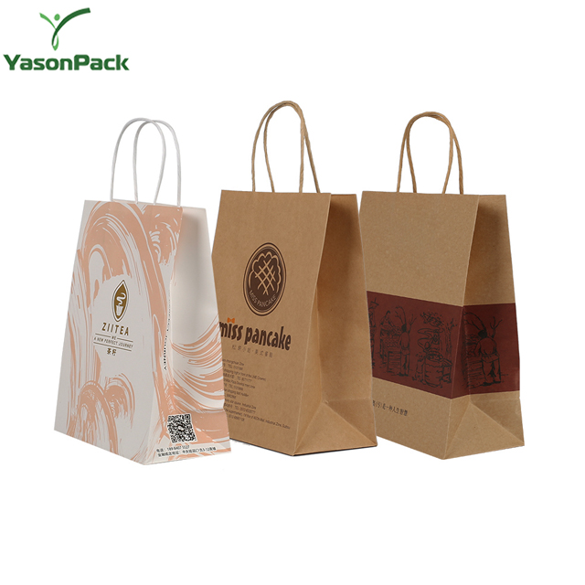 Takeaway Para Fast Food Packaging Personalizado Impresso Lavável de Pizza Transportadora Sacos de Papel Kraft
