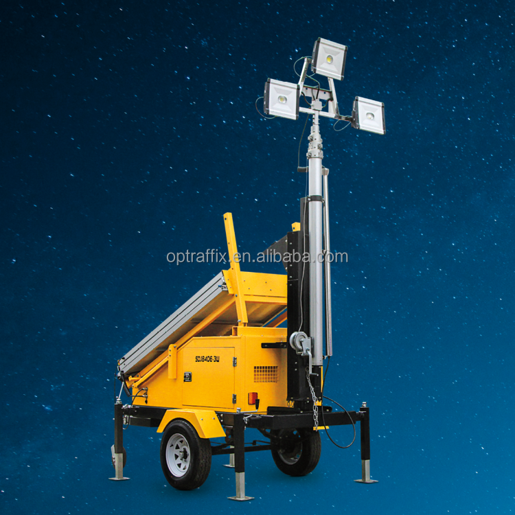 OPTRAFFIC Latest Construction Light Tower Trailer Mounted Mobile Solar Lighting Tower